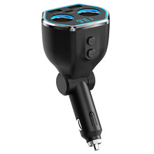 USB C Car Charger Cigarette Lighter Splitter Adapter 2 Socket Type C Multi Power Outlet 12V/24V with LED Voltmeter Switch Dual U(China)