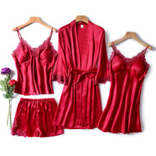JULYS SONG 4 Piece Sexy Pajamas Set Women Faux Silk Dressing Gown Lace Sling  Shorts Summer Robe Sleepwear With Chest Pads
