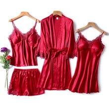 JULYS SONG 4 قطعة مثير منامة مجموعة النساء فو الحرير روب للنوم حبال الدانتيل السراويل الصيف رداء ملابس خاصة مع منصات الصدر