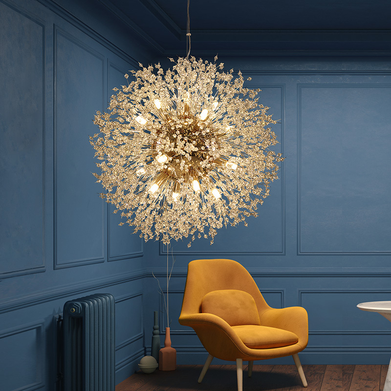 Modern Dandelion LED Chandeliers For Drawing Room Bedroom Wrought Iron Ceiling Chandelier Crystal Firework Pendant Hanging Lamp
