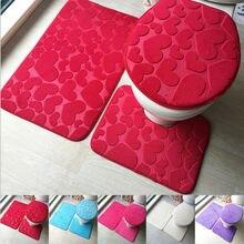 3Pcs Set 5 Types Bathroom Non-Slip Pedestal Rug + Lid Toilet Cover Bath Mat 2019 Newest