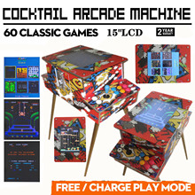 "Cocktail Arcade Machine With 60 Classic Games Coin Mode Video Game Commercial(15""LCD)"