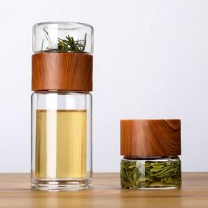 Image 2 - Taza de agua de cristal de doble capa, taza transparente portátil de alta resistencia a la temperatura, té, creativa, separación de agua del té