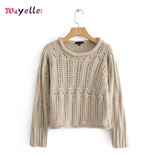 Elegant Knitted Women Sweater O-Neck Hollow Out Long Sleeve Sweaters Womens Solid Stretchy Pullover Chic Women Blouses and Tops chic flower shape and hollow out embellished black and blue sunglasses for women