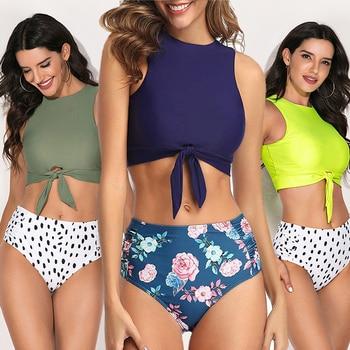 цена на LEEMIIJUU Sexy Ladies Spots Printed Swimwear Women One Piece Swimsuit Female Bandeau Front Tie Cut Out  Bathing Suit Monokini