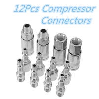 12pcs 1/4 Inch BSP Fitting Couplings Connector Male/ Female Line Compressor Accessory Hose Quick Release Air Tool Coupler Set