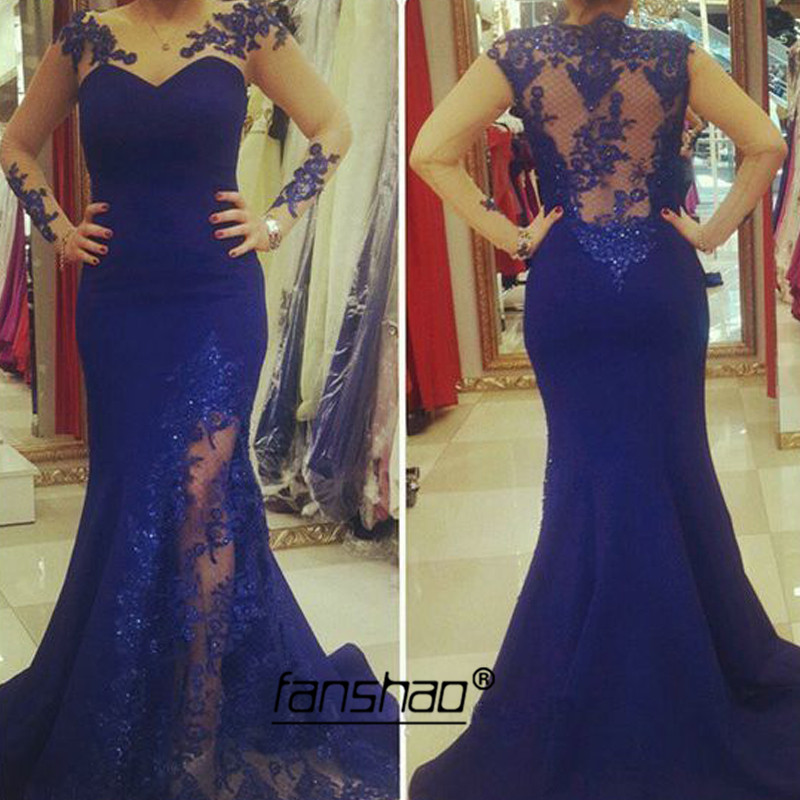 Illusion Evening Dresses Royal Blue Mermaid Plus Backless High Slit Dubai Saudi Arabic Evening Gown Boho Prom Dress