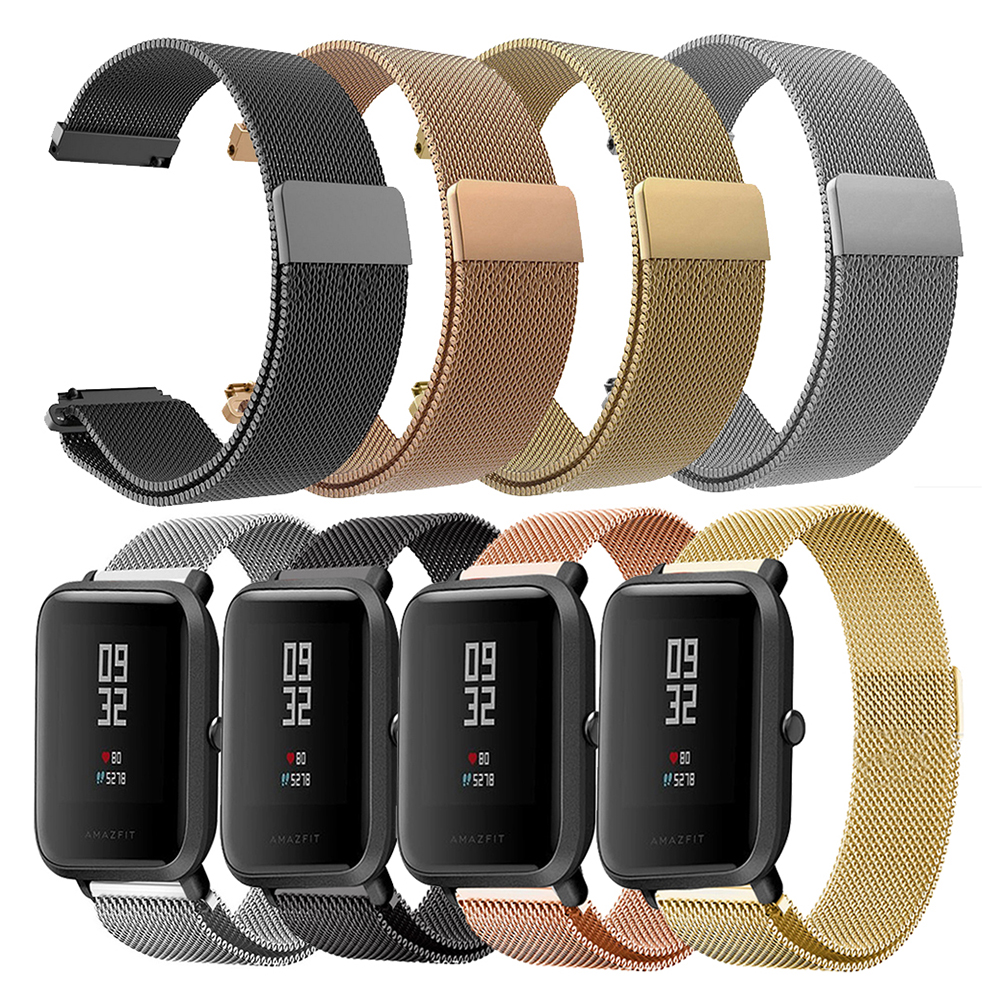 New Metal Watch Band Wristband For Amazfit Bip Watch Strap For Xiaomi Huami Amazfit Bip Youth Adjustable Watch Stainless Steel