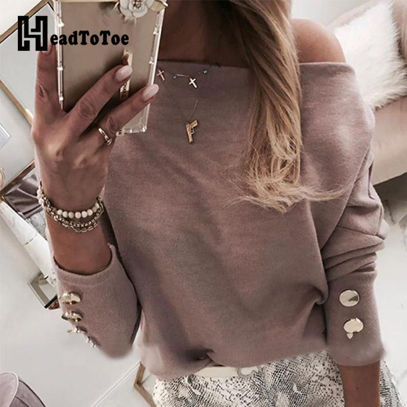 Women Batwing Long Sleeve Buttoned Blouse Women Autumn Solid Casual Tops