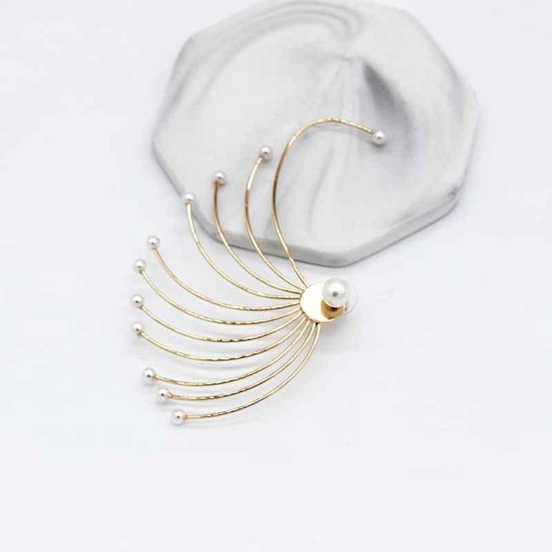 אישיות מוגזמת נשים עגילי גיאומטרי מאוורר בצורת מלאכותי פנינה אחת אוזן וו אופנה פראי אוזני תכשיטי תלייה