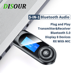 Image 1 - DISOUR USB Bluetooth 5.0 Adapter 5 IN 1 Wireless Audio Receiver Transmitter LCD Display 3.5mm AUX RCA Dongle With Mic For TV Car