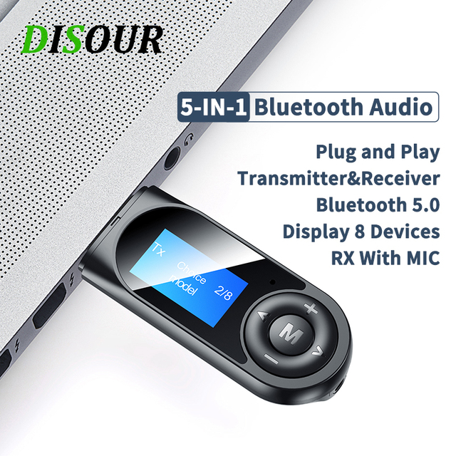 DISOUR USB Bluetooth 5.0 Adapter 5 IN 1 Wireless Audio Receiver Transmitter LCD Display 3.5mm AUX RCA Dongle With Mic For TV Car