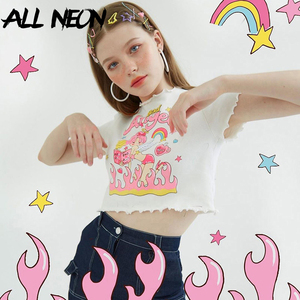 ALLNeon Y2K E-girl Angel Graphic and Letter Print Ruffles Hem Cute Crop Tops Kawaii O-neck Butterfly Sleeve White T-shirt 90s(China)