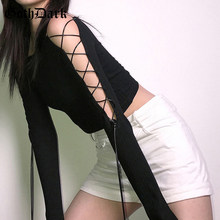 Goth gótico oscuro vendaje negro camisetas mujeres de hombro de manga larga Crop Tops de punto Bodycon Casual Patchwork otoño camiseta