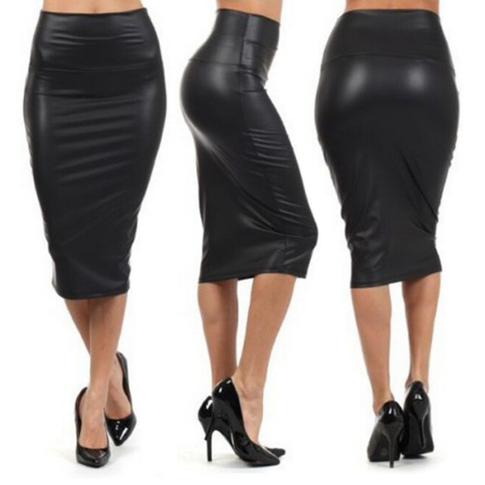 Plus Size Spring Autumn Winter Black Color High Waist Pencil Skirts Sexy Club Vintage Midi Skirt Women PU Leather Midi Skirt
