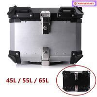 45/55/65L Aluminum Motorcycle Rear Storage Top Tool Box Tail Luggage Trunk Helmet Case Rear Key Lock Boxes Waterproof Universal