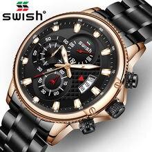 Swish relógios para homens warterproof esportes dos homens cronógrafo relógio de pulso marca superior luxo aço masculino relógios relogio masculino