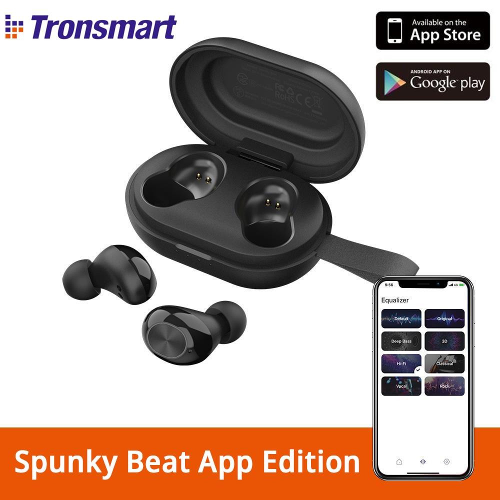 Tronsmart spunky batida tws app edição bluetooth fone de ouvido tecnologia aptx fones de ouvido sem fio com cvc 8.0, assistente de voz, 24h playtime
