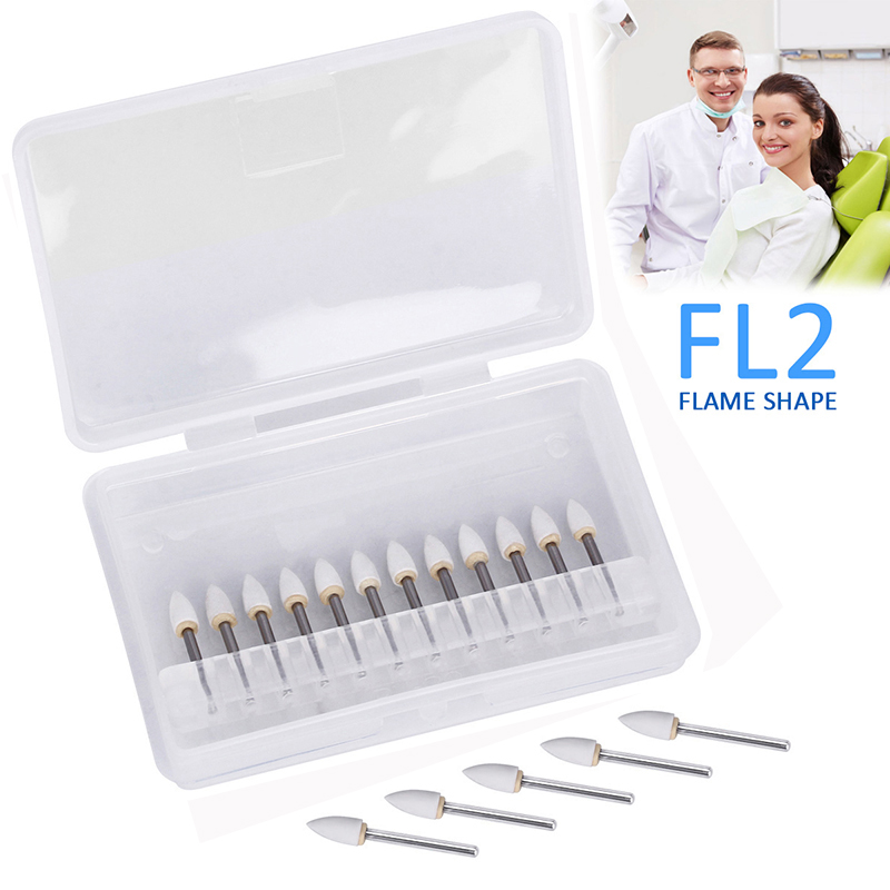 12pc/pack Dental Cone White Stone Polishing FG Burs FL2 Flame Abrasion Point Bur Fit High Speed Handpiece 1.6mm Dentist Tools