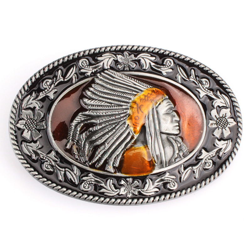 Indian Indigenous Tribal Chief Head Belt Buckle Belt DIY Accessories Western Cowboy Style Smooth Belt Buckle  Punk Rock Style K6