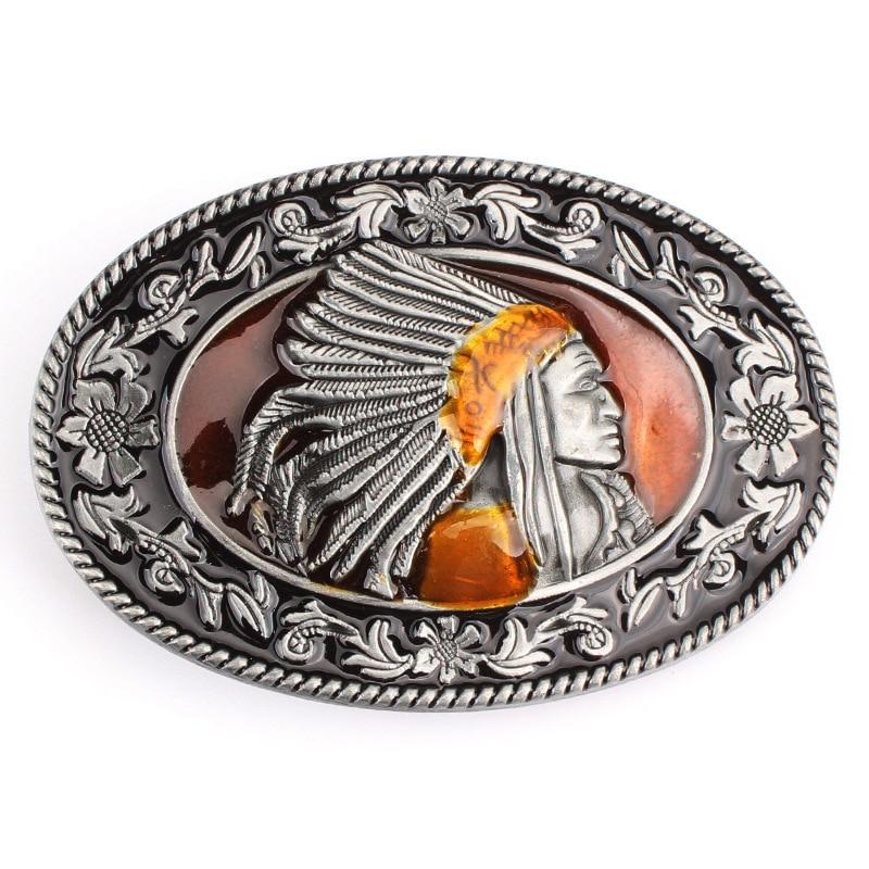 Indian Indigenous Tribal Chief Head Belt Buckle Belt DIY Accessories Western Cowboy Style Smooth Belt Buckle  Punk Rock Style K6