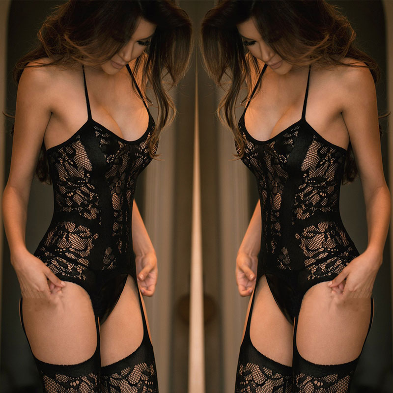 Купить со скидкой Sexy Lingerie Women Sexy Halter Fishnet Bodysuit sexy costumes Bodystocking lingerie bodysuit hot bo