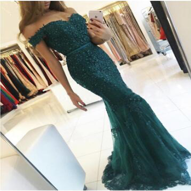 Sexy Appliqued Lace Beading Off-shoulder Mermaid   Prom     Dresses   Fashion Sweetheart Short Sleeve Customed Made Evening   Dress