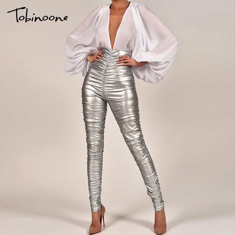 Tobinoone Sexy High Waist Pants Bodycon Silver Pencil Causal Pants Autumn Female Slim Women Pants Trousers Pleated Fashion