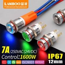 Lanboo interruptor de alta qualidade 12e, interruptor de alta qualidade 7a de alta potência 1no com anel ou energia led ip67, interruptor de botão de metal com barco de carro