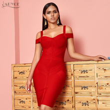 ADYCE Off Shoulder Bodycon Bandage Dress Women Sexy Red Spaghetti Strap Knee Length Club Celebrity Evening Runway Party Dresses