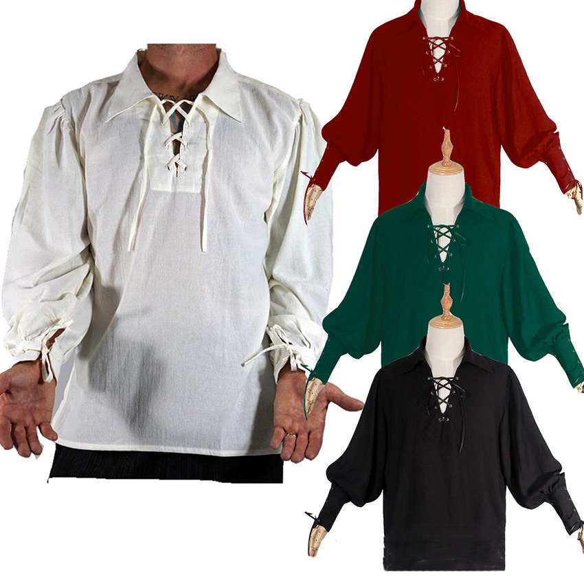 Renaissance Pirate Knight Medieval Cosplay Carnival Halloween Costume For Men Fancy Clothing T-shirt Retro Clothes Party
