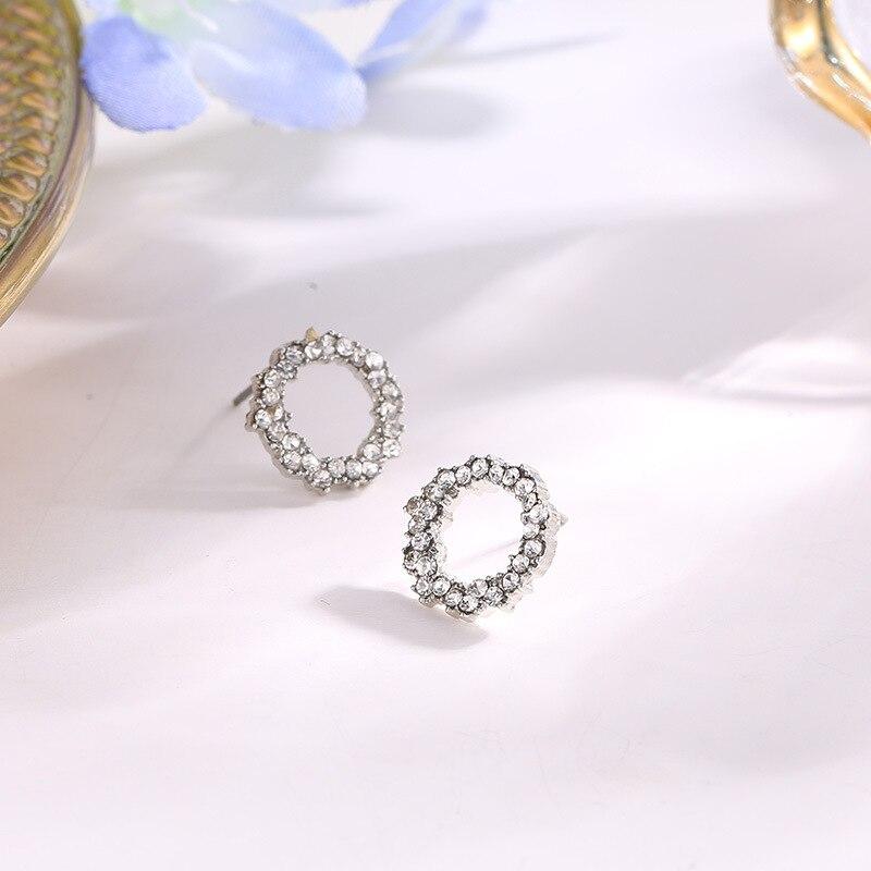Korean Fashion Playful Micro-Embellished Circle Ear Studs Geometric Hollow Stud Earrings Explosive Small Jewelry