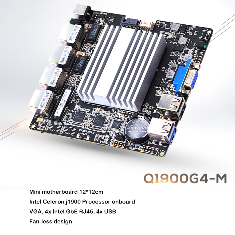 QOTOM Mini PC Q190G4U with 4 Gigabit NIC to build a router/ firewall, Fanless PFSense appliance, J1900 Mini PC Quad core 2 GHz
