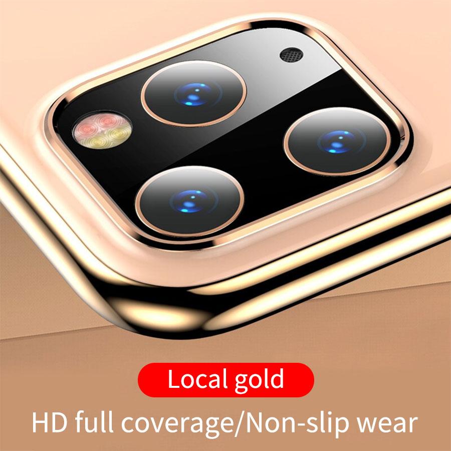 Металлическая рамка+ закаленное стекло, задняя крышка, кольцо для объектива камеры для iPhone 11 Pro Max, защита экрана, Задний защитный чехол - Цвет: Gold