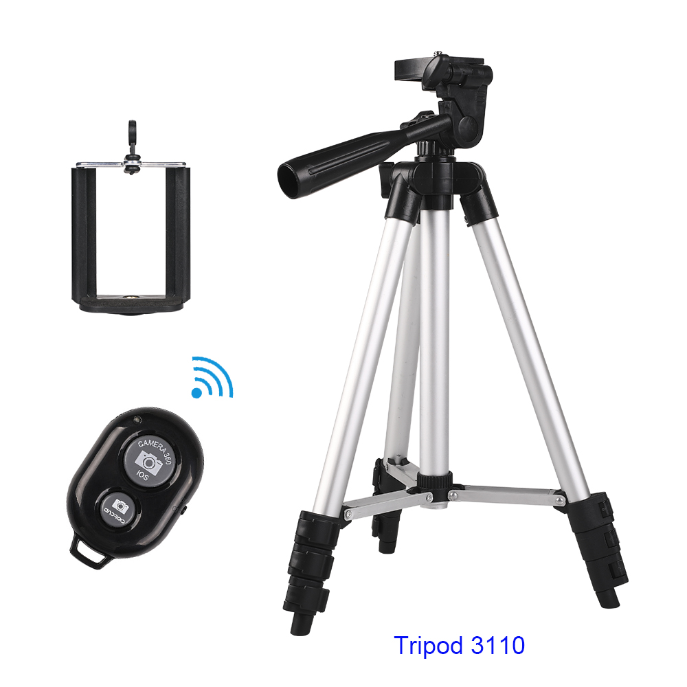 Portable Professional Aluminium Phone Tripod &Remote Shutter&Tripod Phone Holder For Smartphone Iphone7 x XiaomiNote 7 HuaweiP20