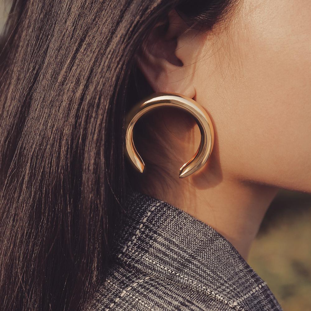 New Fashion Simple Aros Hoop Earrings For Women Geometric Big Circle Empty Tube Pendant Loop Earrings Exaggerated Jewelry