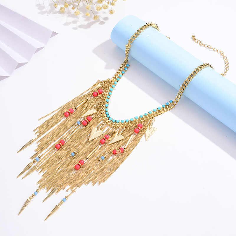 Shineland Bohemian Multi Warna Manik-manik Peluru Rumbai Maxi Kalung Panjang Etnis Rantai Pernyataan Perhiasan untuk Wanita Kerah Hadiah