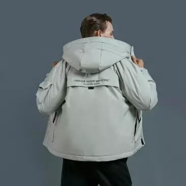 Xiaomi 90 homem inverno quente com capuz curto jaqueta 90% pato para baixo à prova dwaterproof água outwear solto casaco - 2