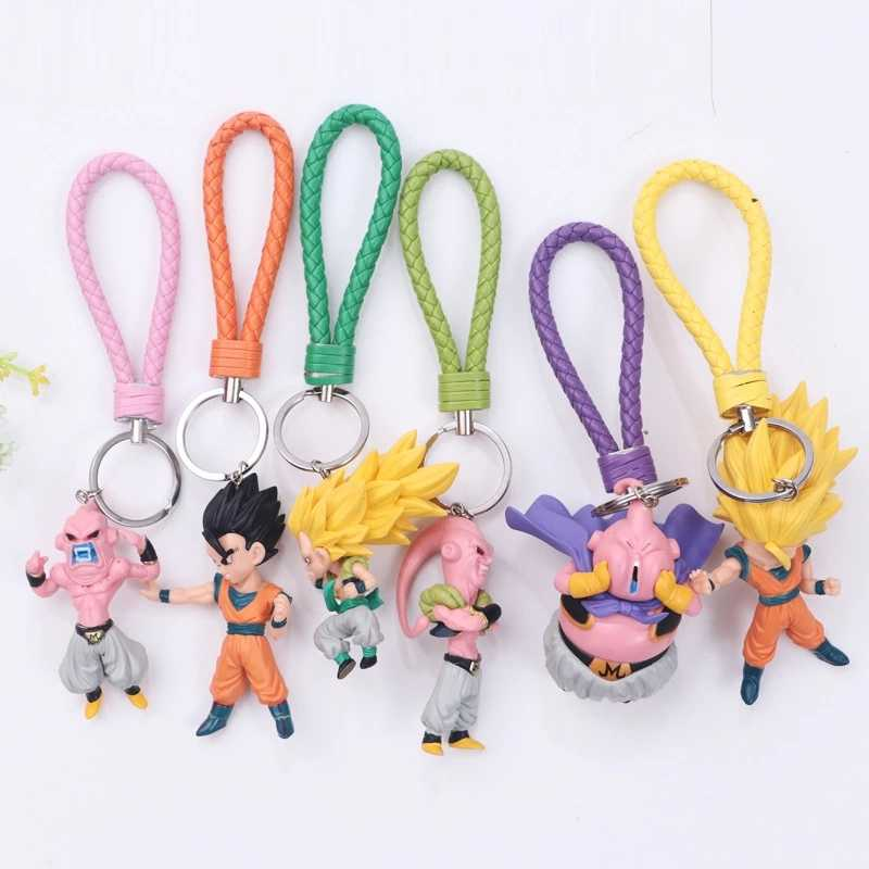 1pc Anime Dragon Ball Goku keychain Figuras Super Saiyan Goku Gohan Majin Buu Vegeta Freeza Dragon Ball Z Ação brinquedos quentes