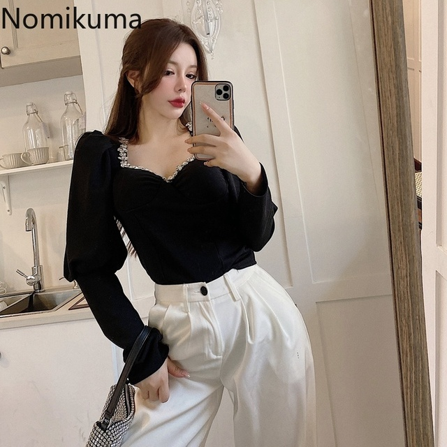 Nomikuma Slim Fit Short Shirts New Fashion Square Collar Long Sleeve Knitted Blouse Women Femme Blusas Elegant Basic Tops Lady 2