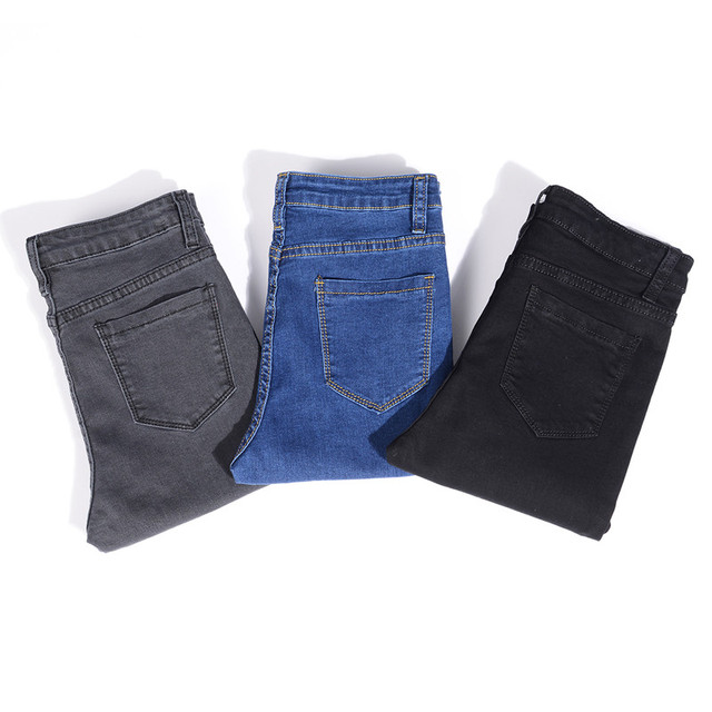 Jeans for Women mom Jeans blue gray black Woman High Elastic plus size 40 Stretch Jeans female washed denim skinny pencil pants 5