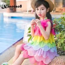 Toddler Girls Summer Dress Kids Sleeveless Beach Dresses for Girls Cute Rainbow Layered Party Dress Chidlren's Clothing 8 10 6