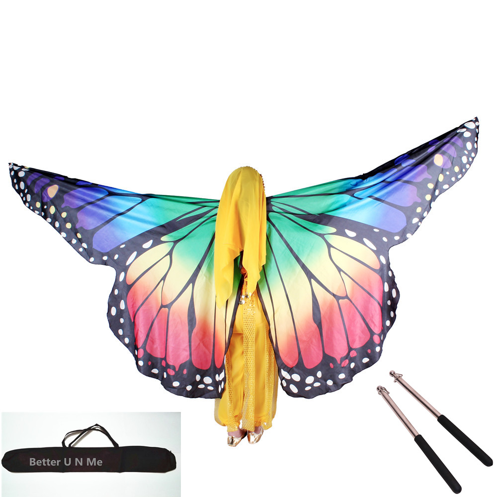 Kids Butterfly Wings Belly Dancing Costumes Bufandas Isis Wings Oriental Design Dancewear Women India Clothes Wings+Bag+Sticks
