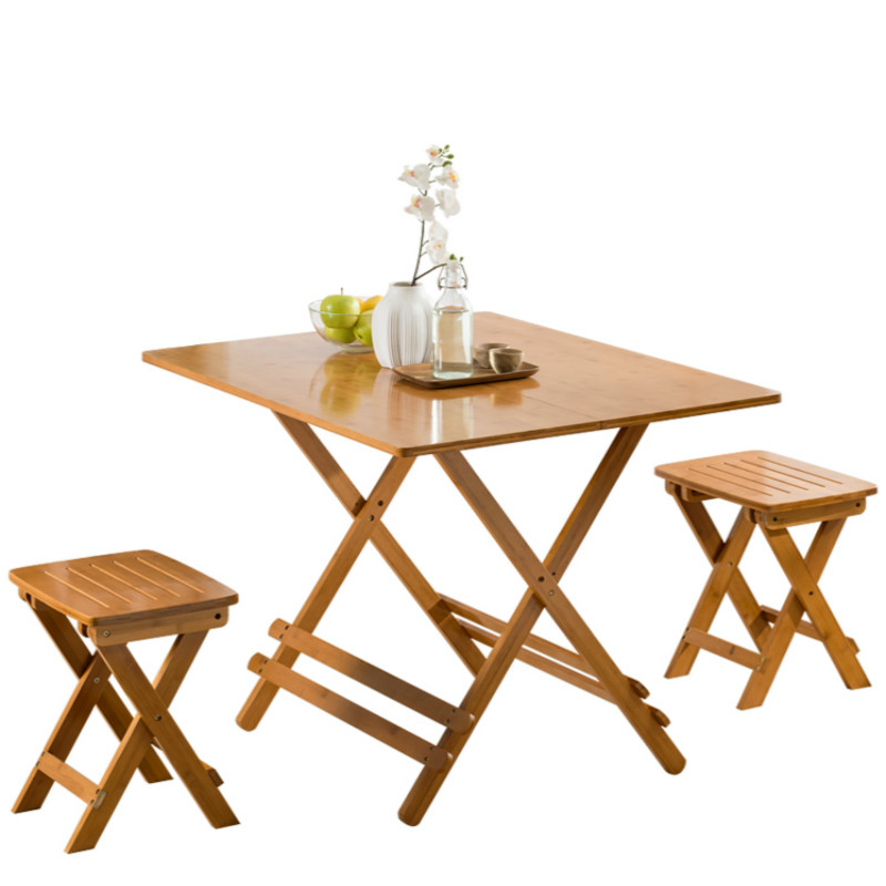 Outdoor Tables Outdoor Solid Wood Foldable Small Dining Table Household Balcony Portable Simple Bamboo Folding Table Desk