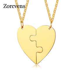 ZORCVENS New Fashion Gold Color Stainless Steel Best Friends Heart Pendant Necklaces Gifts High Quality Wedding Couple Necklace