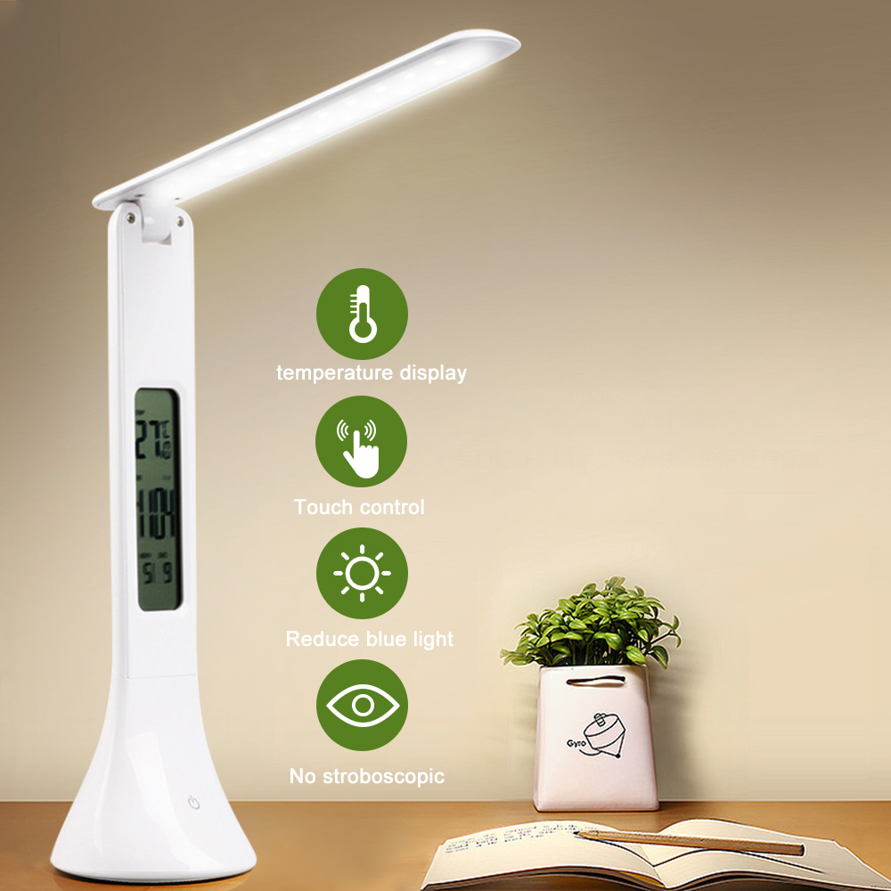 LED Desk Lamp Foldable Touching Digital 3-Level Dimmable Reading Table Lamp With Temperature Alarm Clock Table Calendar