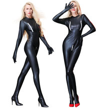 Sexy Leer Latex Catsuit Zwart Crotchless Bodysuit Vrouw Bondage Kleding Lingerie Bodysuit Ropa Sexy Para El Sexo Club Wear(China)