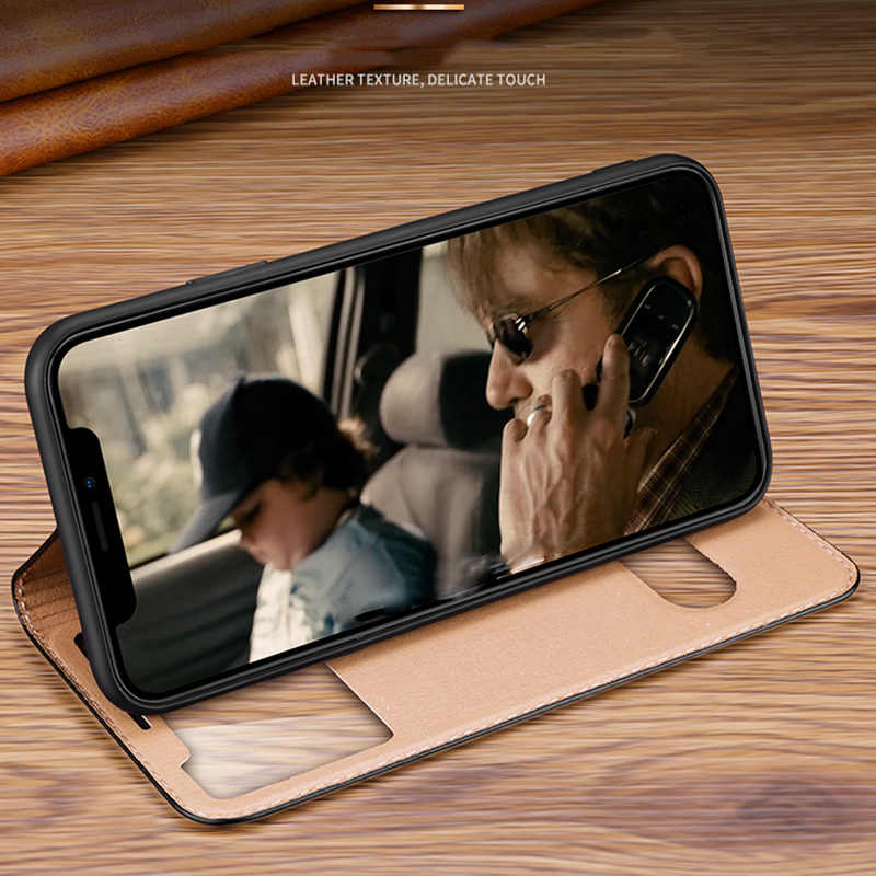Luxury Litchi Texture ซองหนังสำหรับ iPhone 11 PRO MAX 7 8 PLUS X XS XR หน้าต่างดูโทรศัพท์กระเป๋า Coque