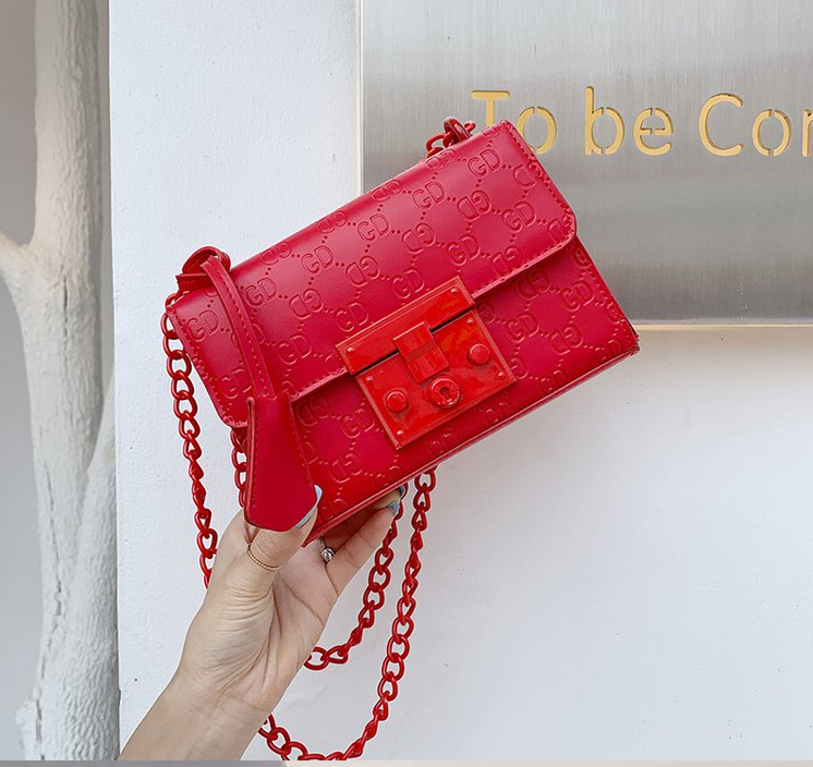 2020 New Fashion Cowhide Solid Color Printing Small Square Bag Lock Chain Shoulder Bag Leather Crossbody Bag Wallet Luis Vuiton
