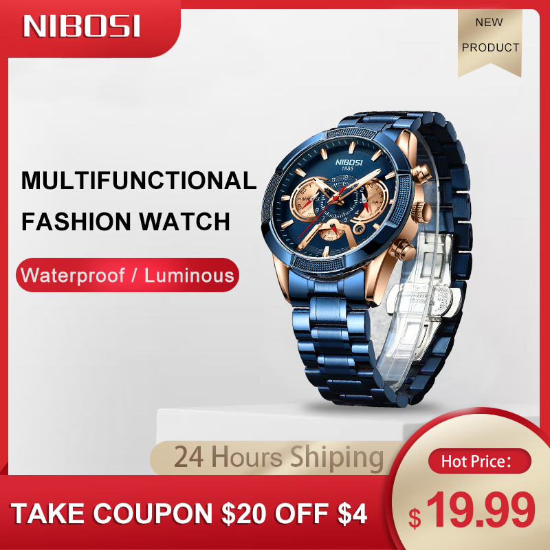 NIBOSI 2020 New Arrival Men Watch Top Luxury Brand Sport Watches Mens Chronograph Quartz Wristwatch Date Male Relogio Masculino 1
